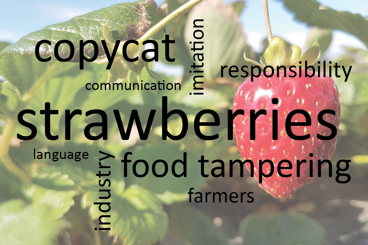Food tampering graphic showing strawberry photo and word cloud on food tampering.
