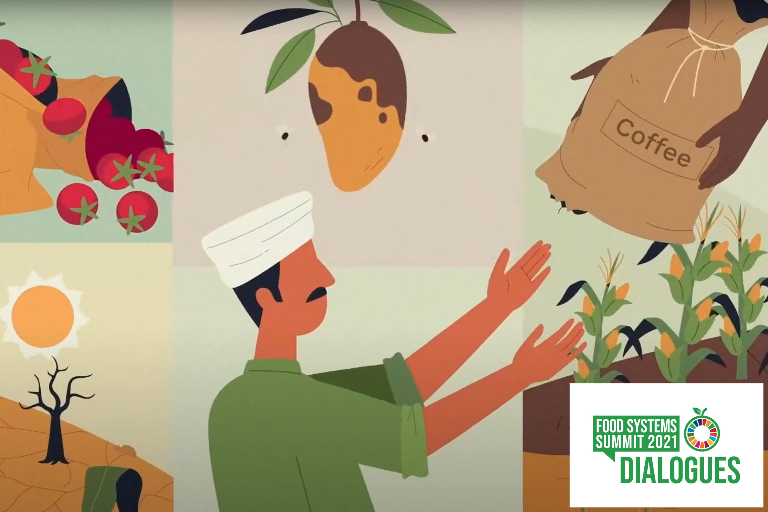 Animation of person and various types of food loss